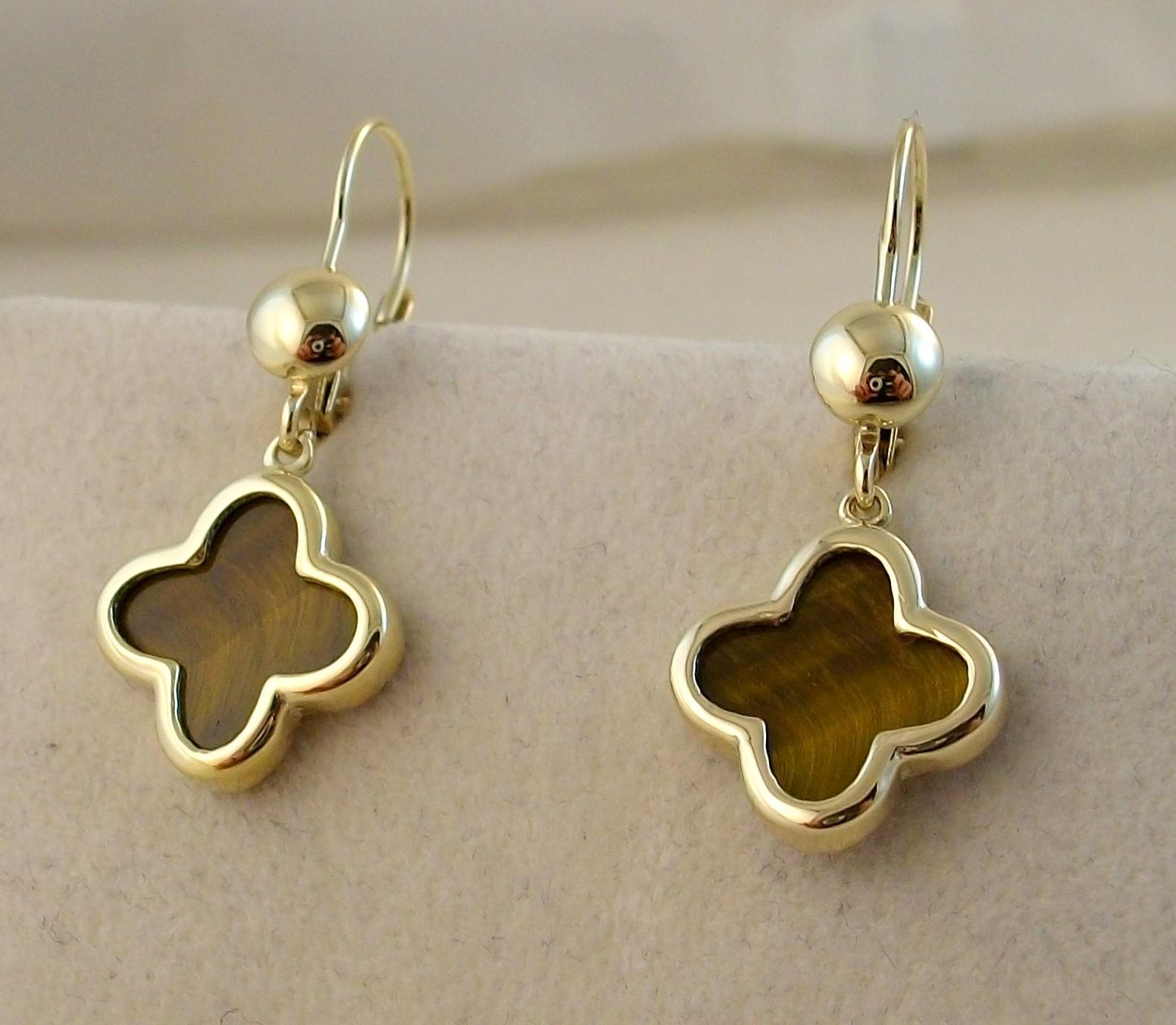 Χρυσά σκουλαρίκια Κ14 με ημιπολύτιμες πέτρες Μοντέρνα-Διάφορα ΣΚ 000589  Βάρος 3.88gr 3cc565f6b6f